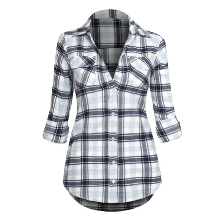 Women 39 s classic button down roll up long sleeve plaid for Plaid button down shirts for women