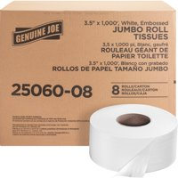 Genuine Joe, GJO2506008, Jumbo Dispenser Roll Bath Tissue, 8 / Carton, White