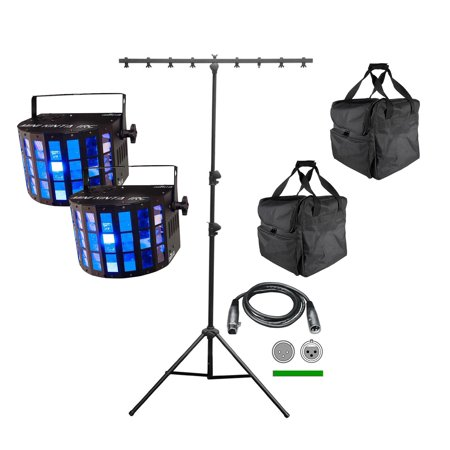 2 Chauvet DJ Mini Kinta IRC LED Lights + CH-06 T-Bar Stand + CHS-40 Travel Bags