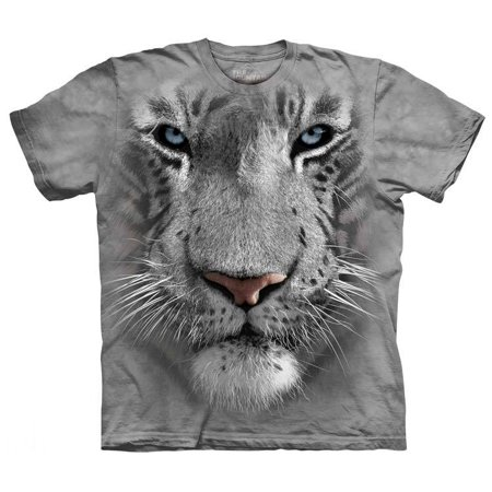 White Tiger Face T-Shirt Oversized Mountain Print Animal 100% Cotton Adult