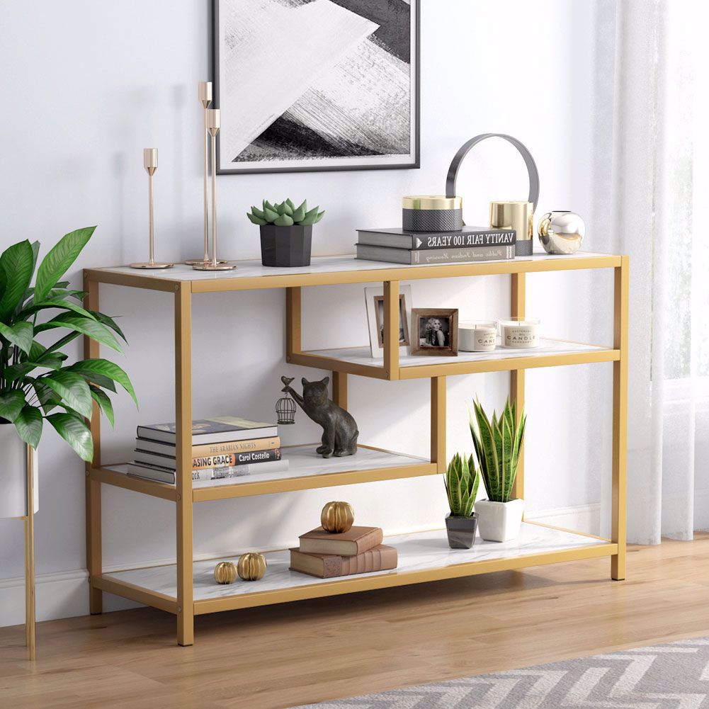 tribesigns sofa entry table 3tier gold console table