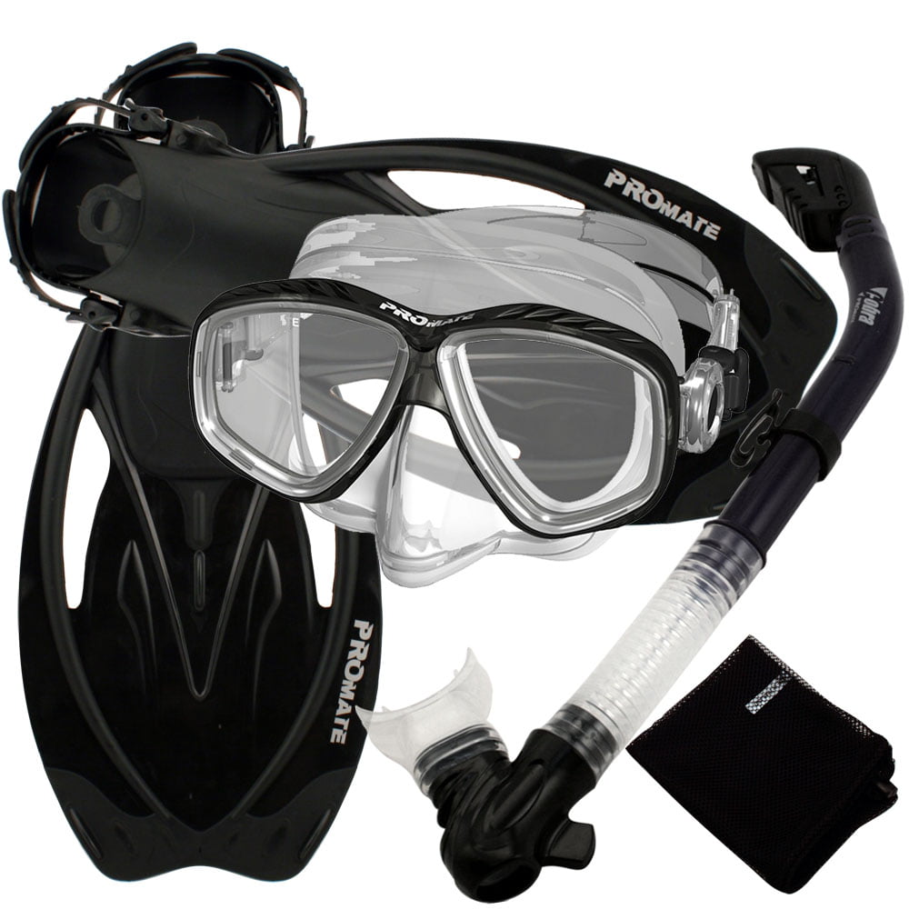 Snorkeling Set Scuba Dive Gear Snorkel Mask Diving Fins Set,Black,SM by