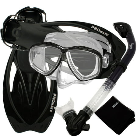 - Snorkeling Set Scuba Dive Gear Snorkel Mask Diving Fins Set,Black,SM
