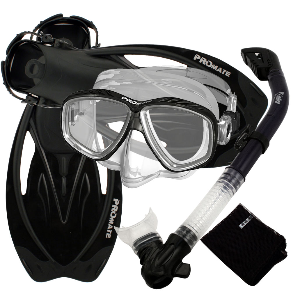 Snorkeling Set Scuba Dive Gear Snorkel Mask Diving Fins Set,Black,SM