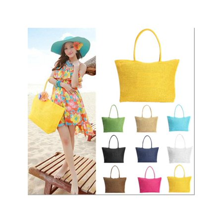 Raffia Woven Tote - New Fashion Women Summer Straw Weave Shoulder Lady Beach Purse Handbag Tote Shopping Bag