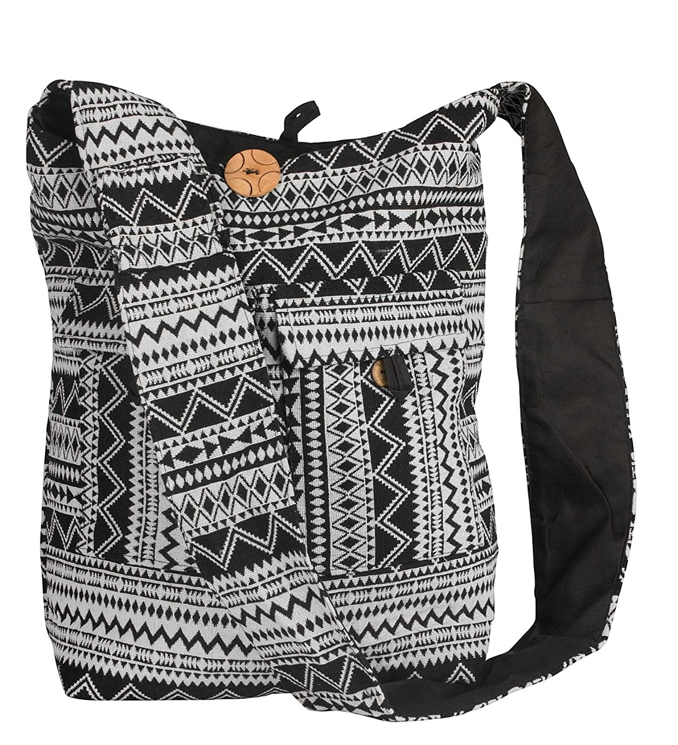 Tribe Azure Large Hobo Crossbody Sling Shoulder Bag Compartment Pockets Functional Zipper Travel Market Books Blanket Black White