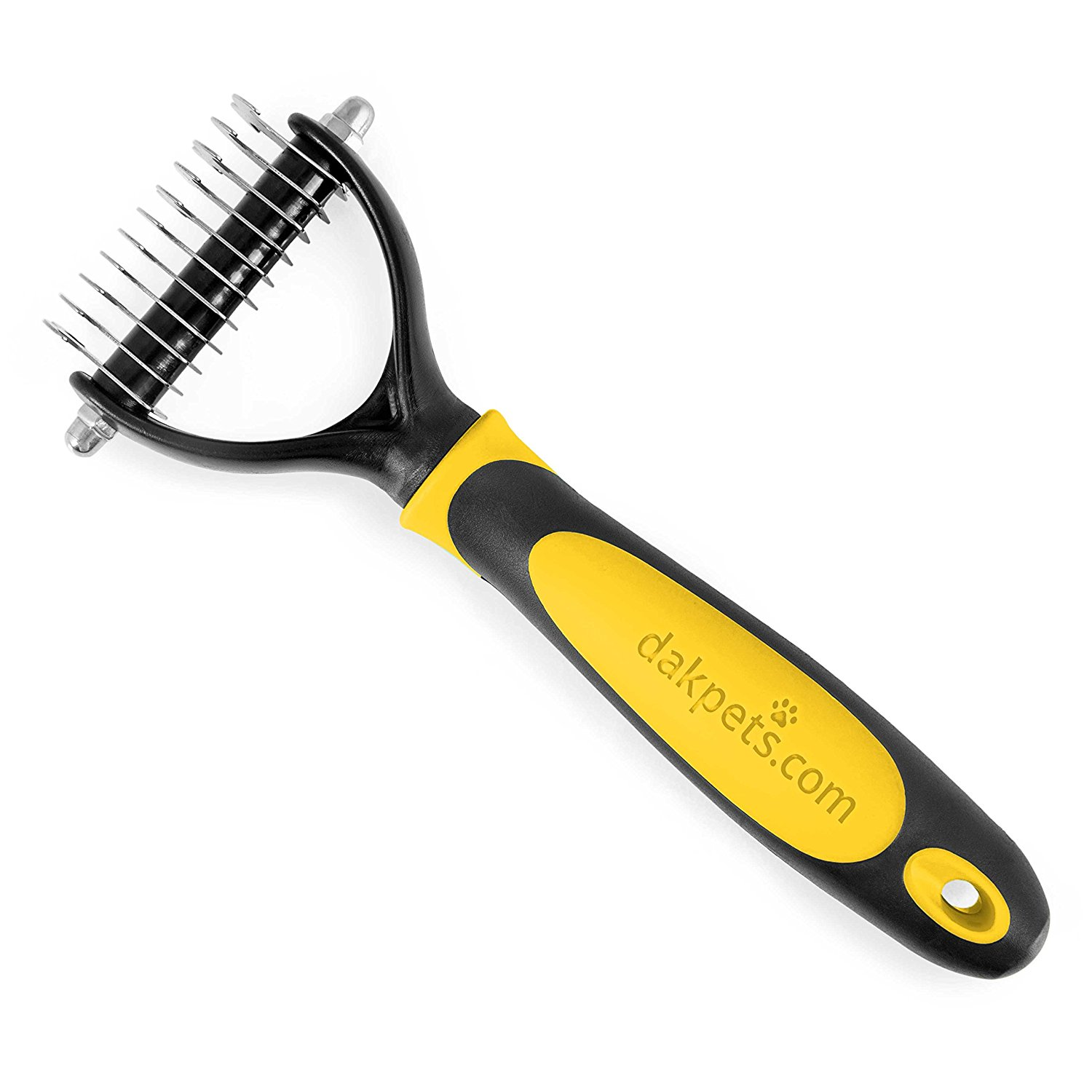 DakPets Dematting Tool for Dogs & Cats - Professional Rake Brush Grooming Comb for Undercoat Removal