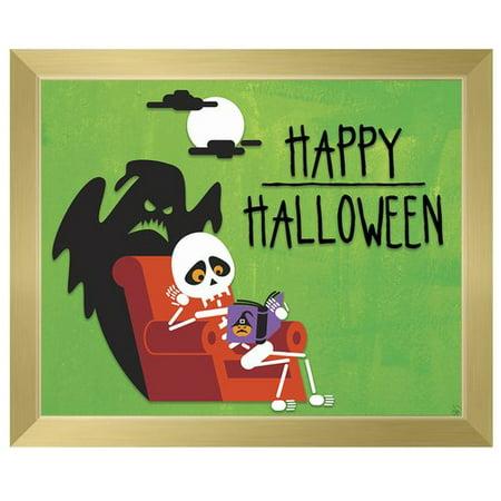 Click Wall Art 'Happy Halloween' Framed Graphic Art on Canvas (Happy Halloween Clip Art)