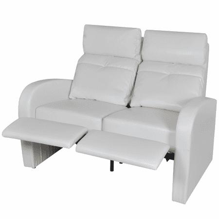 Vidaxl Artificial Leather Home Cinema Recliner Reclining Sofa 2 Seat White