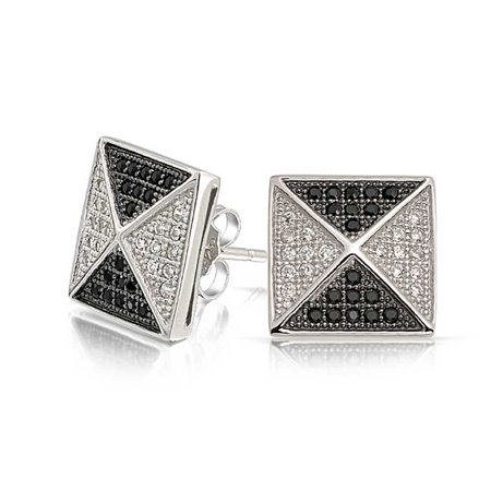 Black & White Pave (Micro Pave Black White Pyramid CZ Mens Stud Earrings 925 Sterling Silver)