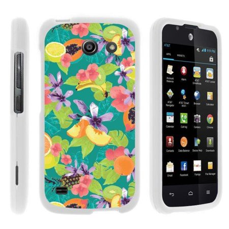 TurtleArmor ® | For Huawei Tribute Y536A1 | AT&T Fusion 3 [Slim Duo] Two Piece Hard Cover Slim Snap On Case - Fruits and Flowers ()