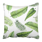 ECCOT Colorful Leaf of Watercolor Exotic Bright Green Leaves Tropical Abstract Banana Pillowcase Pillow Cover 20x20 inch