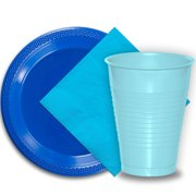 """50 Dark Blue Plastic Plates (9""""), 50 Light Blue Plastic Cups (12 oz.), and 50 Aqua Paper Napkins, Dazzelling Colored Disposable Party Supplies Tableware Set for Fifty Guests."""