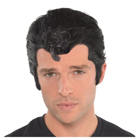 Grease Danny Zuko Wig for Adults, One Size, Slicked Back with a Front Curl