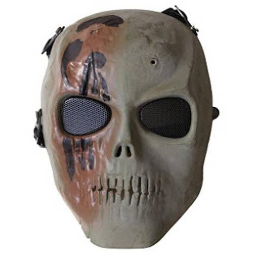 ALEKO PBSSM19OL Skull Skeleton Mask Wire Mesh Goggles Paintball Protective Safety Mask, Olive