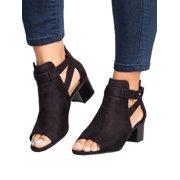 Women Buckle Peep Toe Low Block Heel Ankle Booties Boots Sandals Shoes Size