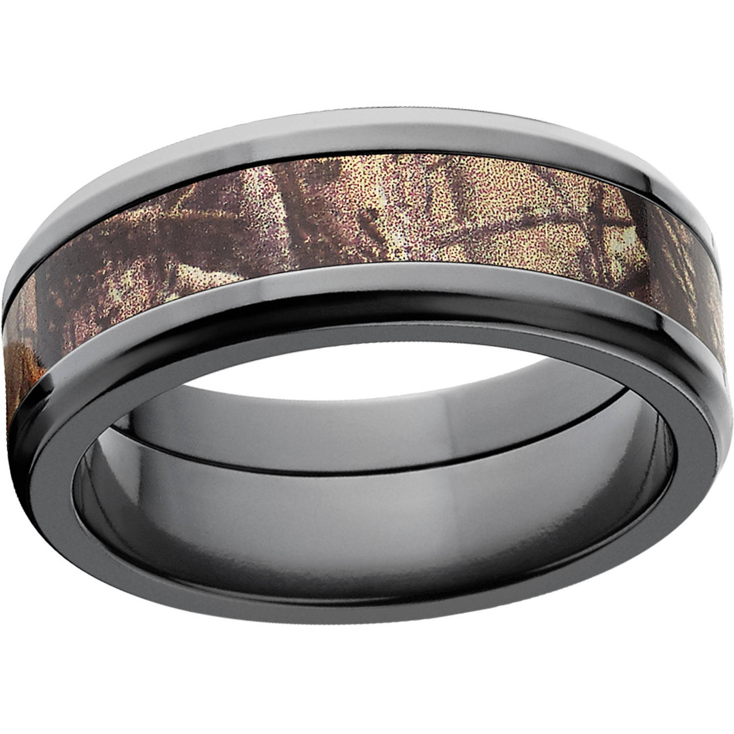 Realtree AP Men's Camo 8mm Black Zirconium Wedding Band