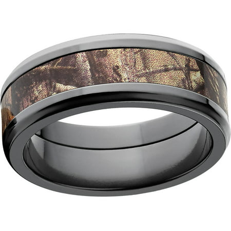 Realtree Ap Mens Camo 8mm Black Zirconium Wedding Band With