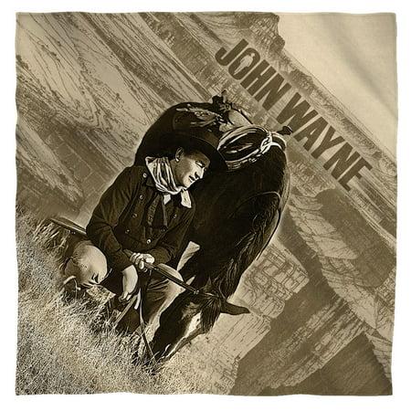 John Wayne Stoic Cowboy Poly 22X22 Bandana White One Size (Cowboy Bandanas)
