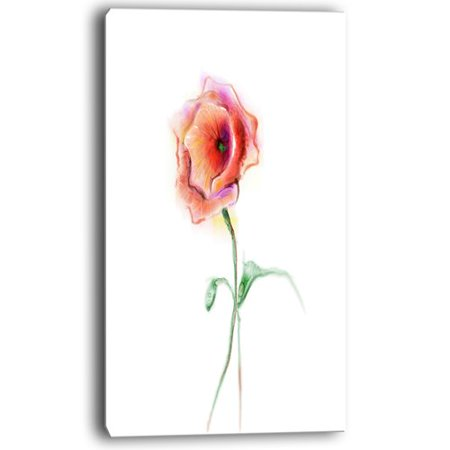- Design Art Red Poppy Flower with Green Leaves Painting Print on Wrapped Canvas