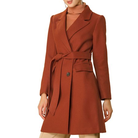 Women's Double Breasted Belted Pocket Trench Coats M Brick Red