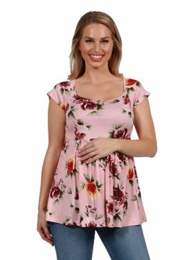 24seven Comfort Apparel Pink Floral Pleated Short Sleeve Maternity Tunic Top in Print Size S