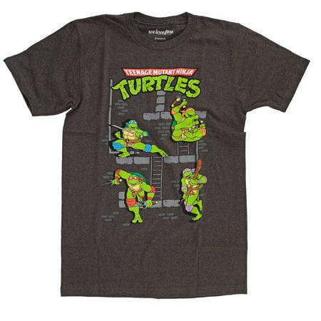 Teenage Mutant Ninja Turtles Sewer Crew Mens Heather Black T-Shirt   M (Ninja Turtles Clothing Size 8)