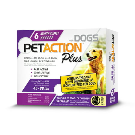 PetAction Plus Flea and Tick Treatment for Large Dogs, 6 Monthly