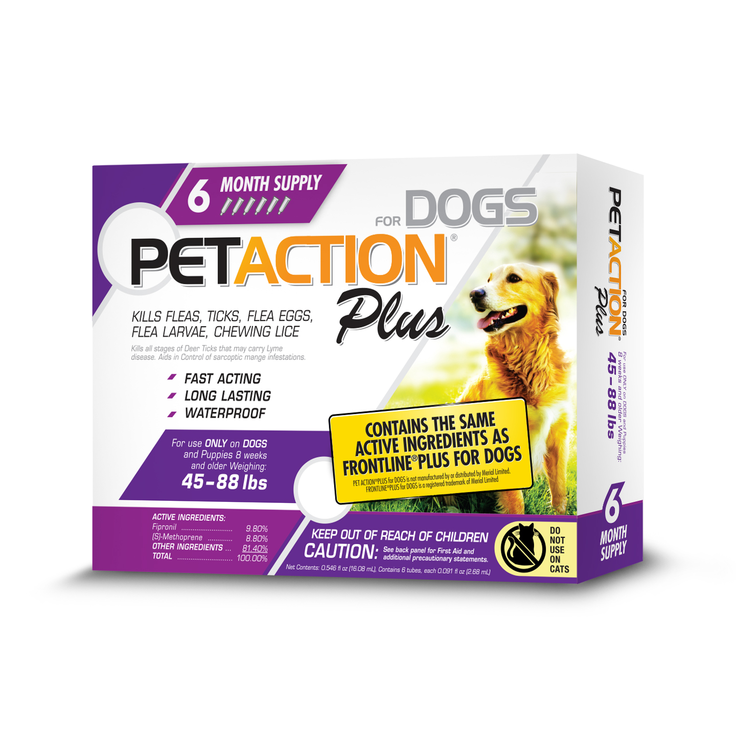 PetAction Plus Flea and Tick Treatment for Large Dogs, 6 Monthly Treatments