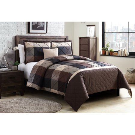 Garden Duvet Set - Better Homes and Gardens Elliot Plaid Soft Textured 4-Piece Duvet Set, King, Brown