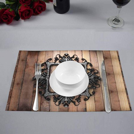 YUSDECOR Western Texas Star with Vintage Iron Frame On Wooden Wall Placemats Table Mats for Dining Room Kitchen Table Decoration 12x18 inch,Set of 4 - image 3 of 4