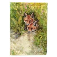 Fox Cubs Peepers by Debbie Cook Garden Flag