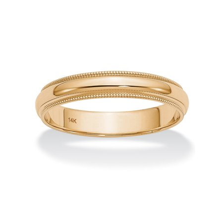 Polished Wedding Ring Band with Milgrain Detailing in 14k Yellow Gold