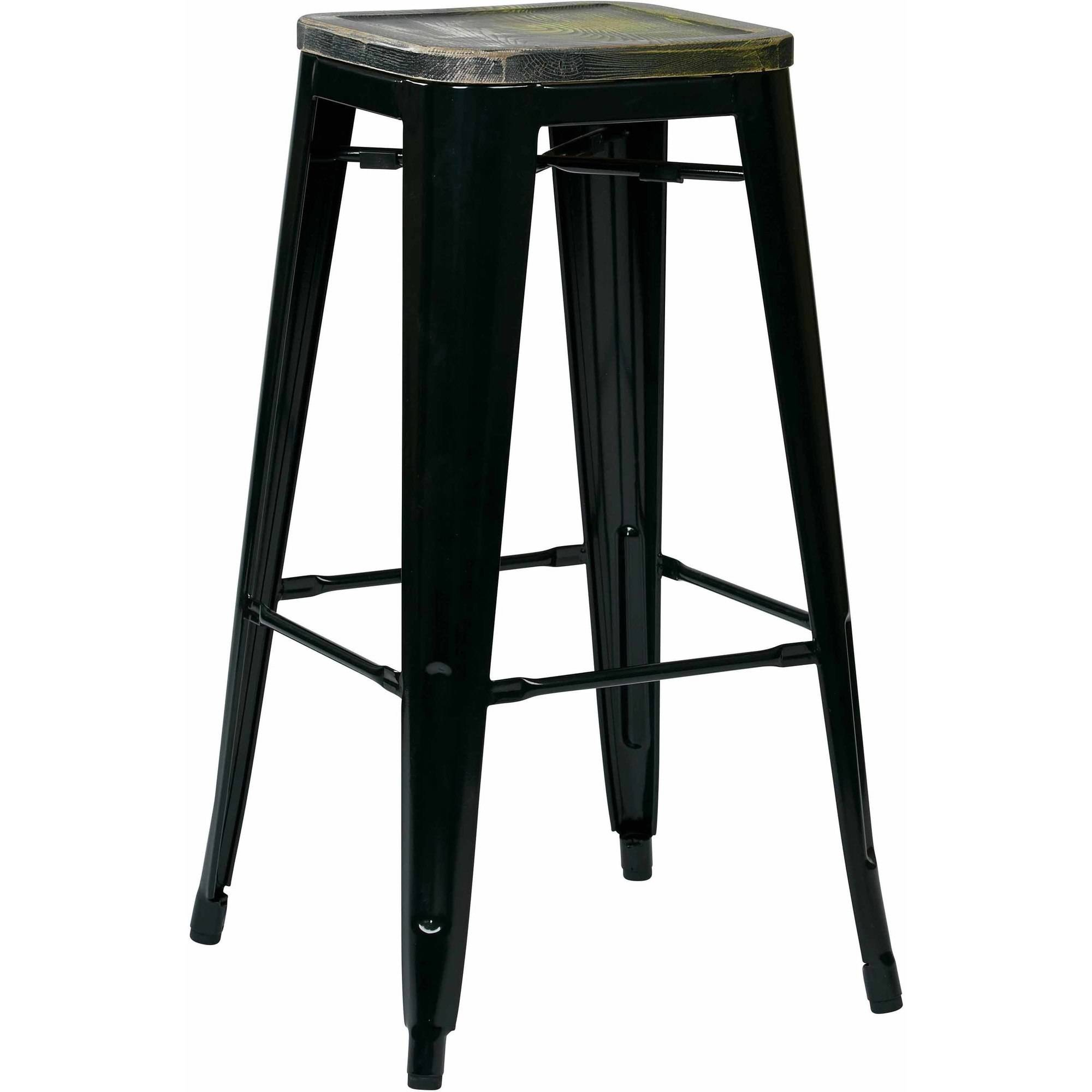 "Bristow 30"" Metal Barstool with Vintage Wood Seat, 4 Pack"
