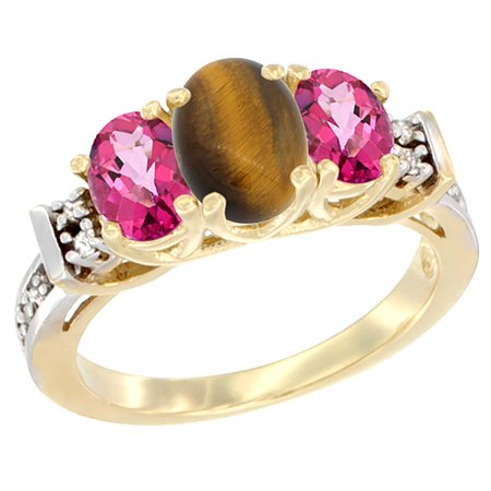 14K Yellow Gold Natural Tiger Eye & Pink Topaz Ring 3-Stone Oval Diamond Accent