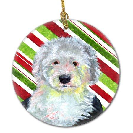 Sheepdog Christmas Ornament (Old English Sheepdog Candy Cane Holiday Christmas Ceramic Ornament LH9261 )