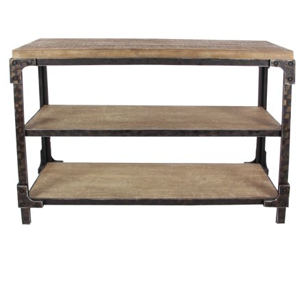 Decmode rustic 34 x 48 inch rectangular three tier wooden for 48 inch sofa table
