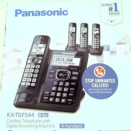 Refurbished Panasonic Cordless Phone System with Answering Machine, One-Touch Call Block, Enhanced Noise Reduction, Talking Caller ID and In ()