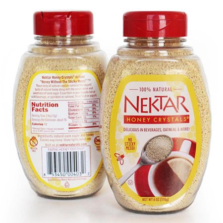 Nektar Naturals Honey Crystals 6 Oz Pour Bottles   Pack Of 2