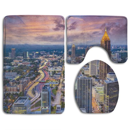 XDDJA Atlanta City Skyline Sunset Hazy Light Georgia Town American View 3 Piece Bathroom Rugs Set Bath Rug Contour Mat and Toilet Lid Cover - image 2 of 2