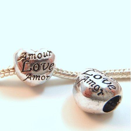Amor Heart - 3 Beads - Love Amour Amor Heart Silver European Bead Charm E0910