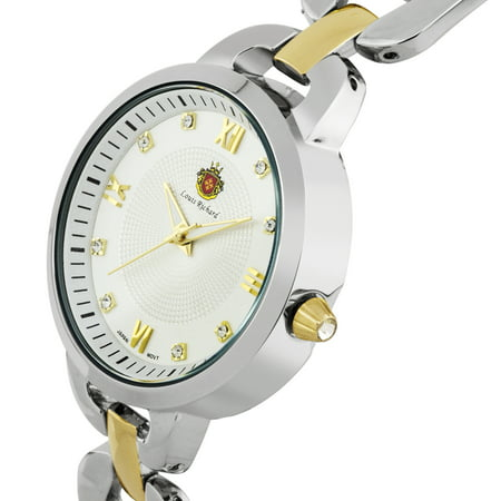 Felina Ladies Watch - Two-Tone Silver/Gold H Link Bracelet, Silver Case, White Dial, Cz Stone Indexes
