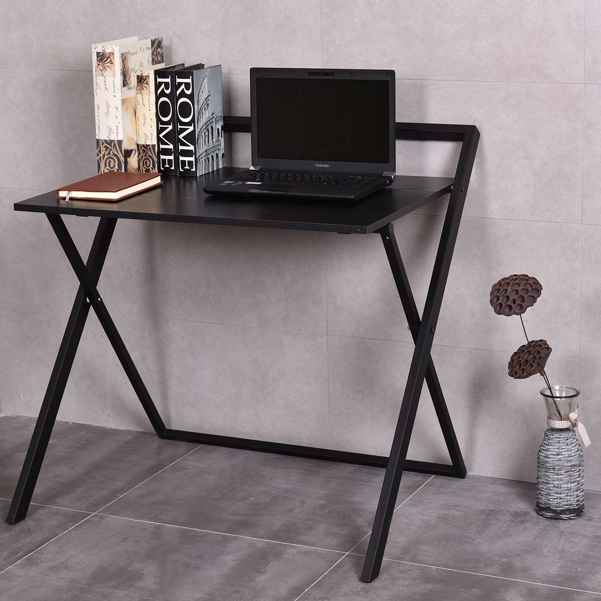 Costway Folding Wooden Computer Desk PC Laptop Table Large Writing Study  Workstation