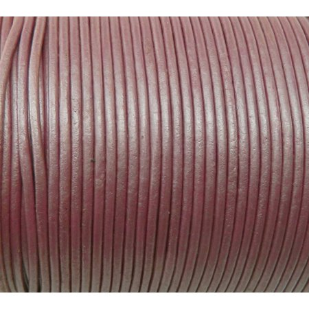 Imported India Leather Cord 2mm Round 5 Yards Metallic Pink