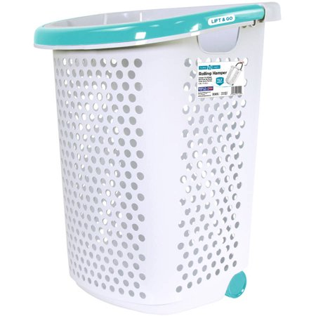 Home Logic Rolling Hamper With Pop Up Handle 2 0 Bushel White