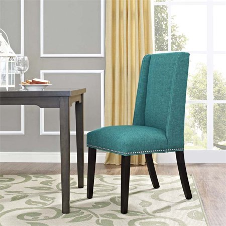 Hawthorne Collection Fabric Upholstered Dining Side Chair in Teal - image 3 of 4