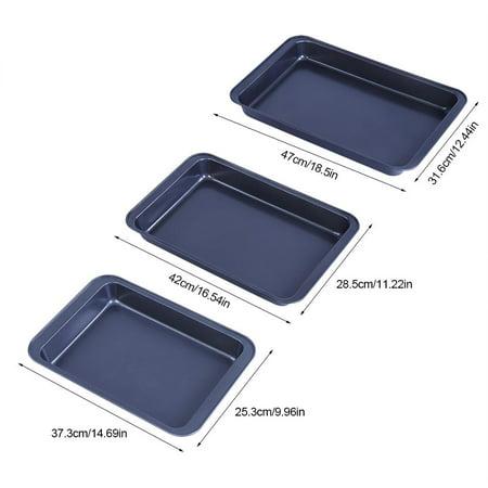 HERCHR Baking Tray, 3pcs Baking Sheets Nonstick Set Professional Baking Trays Rectangle Cake Roasting Pan Set Carbon Steel Toaster Oven Bakeware Cookie Sheets Kitchen Utensils ()