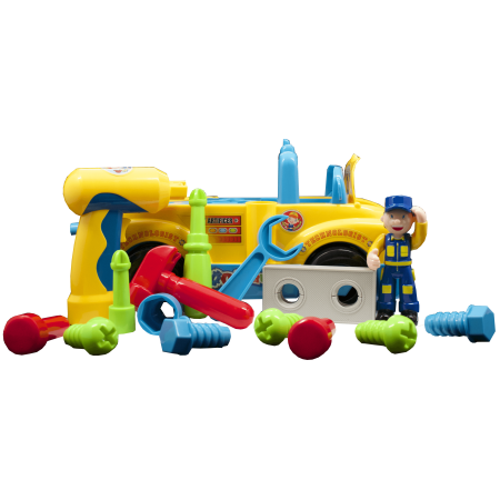 Take Apart Truck Toys With Power Tools for preschool Kids by TECHEGE Equipped with Play Tools Such As Electric Drill and Various Tools, Lights and Music, Bump and Go!