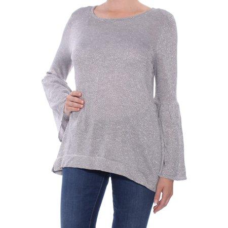 CALVIN KLEIN Womens Gray Glitter Bell Sleeve Jewel Neck Top Size: M