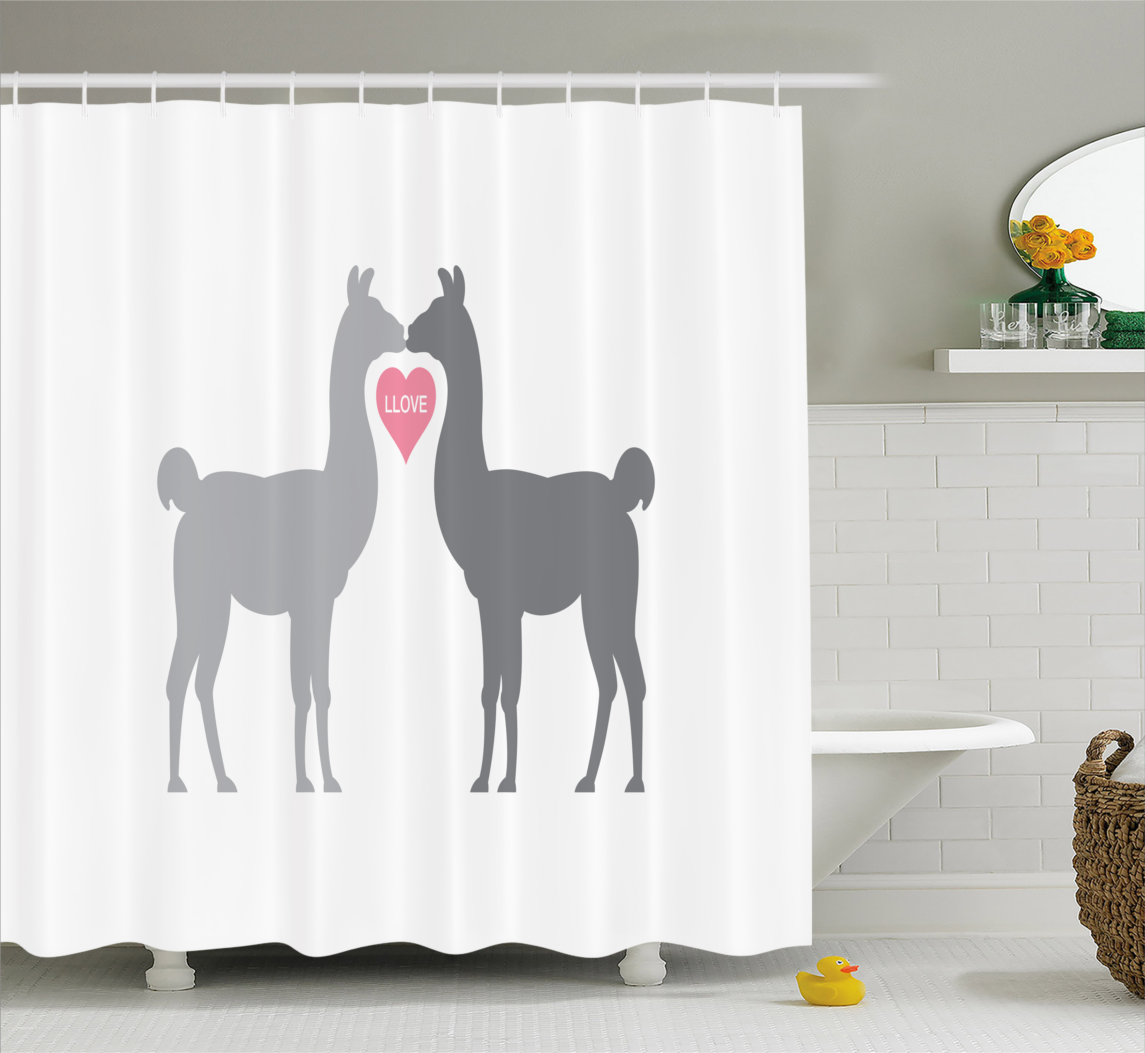 How To Create A Greyscale Bathroom: Llama Shower Curtain, Two Animals In Love With A Heart